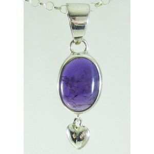 Amethyst with Silver Drop Heart Pendant (small)