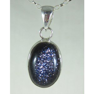 Blue Goldstone Silver Pendant (small)