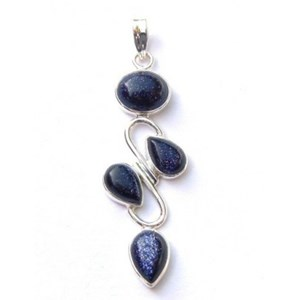 Blue Goldstone 4 Crystal Pendant