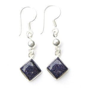 Blue Goldstone Diamond Earrings