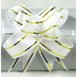 White & Gold Gift Bow
