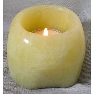 Yellow Calcite Tea Light Holder