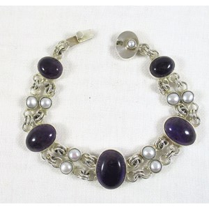 Amethyst and Pearl Silver Bracelet