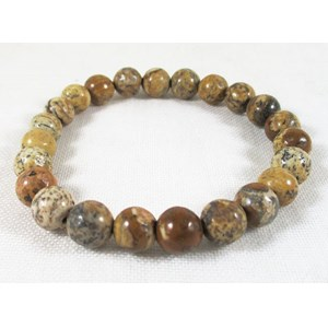 Picture Jasper Power Bead Bracelet (S/M)