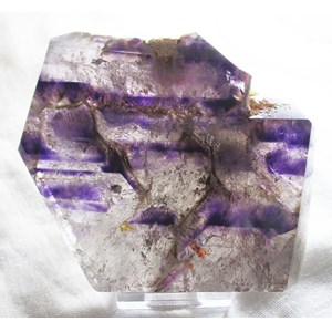 Amethyst and Goethite Polished Slice