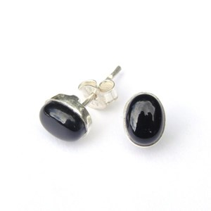 Black Onyx Oval Stud Earrings