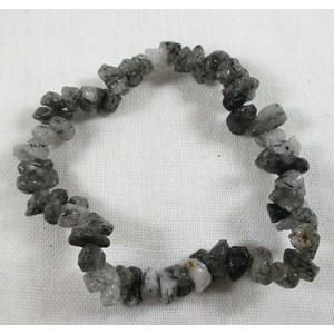 Tourmalinated Quartz Chip Bracelet  (small)