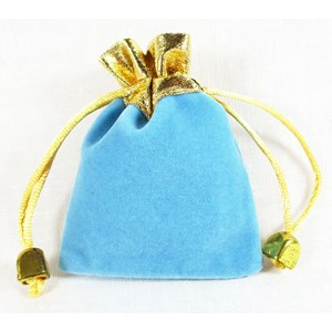 Turquoise and Gold Velvet Pouch