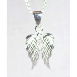 Silver Angel Wings Necklace Smallish