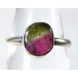 Watermelon Tourmaline Ring (Size P)