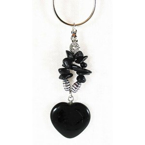Black Onyx Heart Keyring