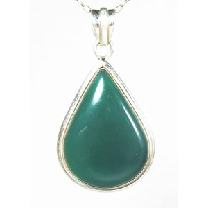 Green Chalcedony Drop Pendant