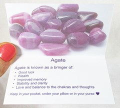Agate Healing Crystals Properties card inside