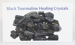 Black tourmaline healing crystals properties card front