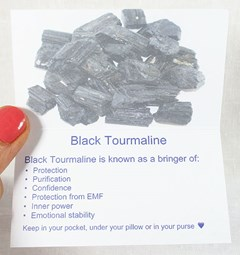 Black Tourmaline healing crystals properties card inside