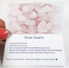 Rose quartz healing crystals properties card inside