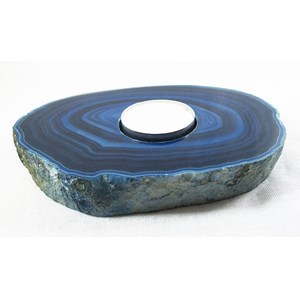 Blue Stripey Agate tea light Holder